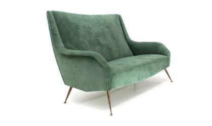 Divano due posti in velluto verde anni '50, sofa, italian design, mid century modern, 50s, zanuso, minotti, gigi radice