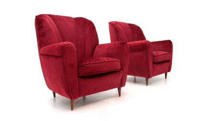 Coppia di poltrone in velluto rosso anni '40, arkchair , italian design, mid century modern, 40s, gio ponti, casa e giardino, Paolo buffa,