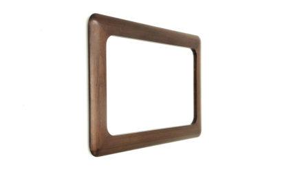 Specchio con cornice in legno Mobelhaus anni '70, word frame mirror, design, mid century modern, 70s,