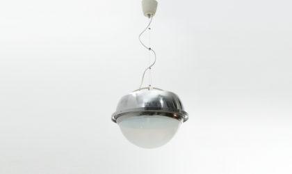 Lampadario in metallo cromato e vetro anni '70, chromed pendant lamp, italian design, mid century modern, 70s, reggiani, lamperti