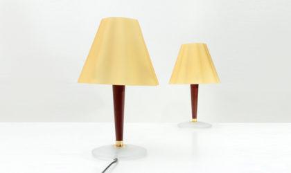 Coppia di lampade con diffusore in vetro Fabbian anni '90, table lamp, italian design, post modern, 90s, glass, vetro, giallo