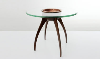 Tavolino con piano in vetro e portaoggetti in rame anni '40, italian design, 40s, mid-century modern, coffee table, cesare lacca, gio ponti,