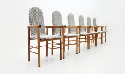 sei sedie con struttura in legno anni '70, italian design, 70s, mid-century modern, carlo scarpa, bernini, wood,