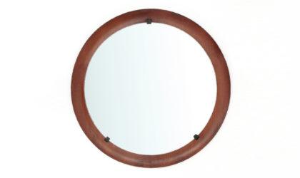 Specchio circolare con cornice in teak curvato anni '60, mirror, 60s, mid-century modern, italian design, elam, ico parisi, campo e graffi, home
