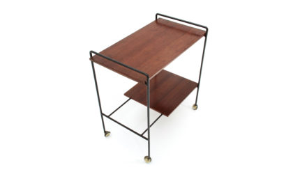 Carrello in metallo e teak anni '60, cart, 60s, mid-century modern, italian design, campo e graffi, home, elam
