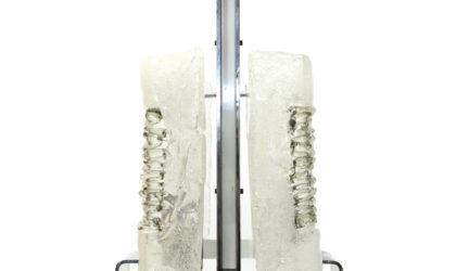 Lampadario con diffusori in vetro Esperia anni '70, pendant lamp, 70s, mid-century modern, italian design, murano, mazzega, glass