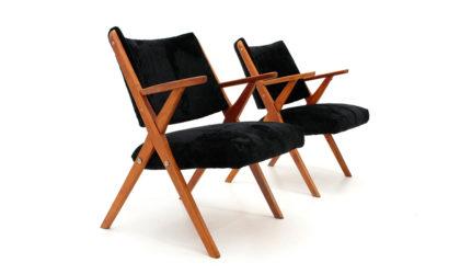 Coppia di poltrone in velluto nero Dal Vera anni '50, armchairs, 50s, mid-century modern, vintage, zanuso, frattini, de carli