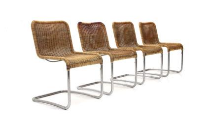 Quattro sedie in tubolare cromato anni '70, chromed chairs, 70s, mid-century modern, marcel breuer, gavina
