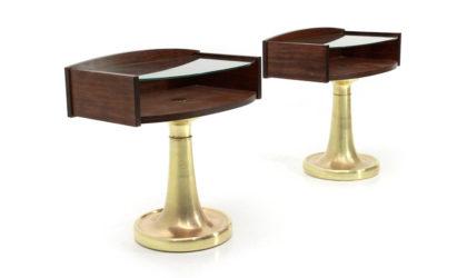 Coppia di Comodini con base in ottone anni '70, nightstand, 70s, mid-century modern, Frigerio, bed side table, brass, glass