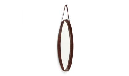 Specchio ovale con cornice in teak anni '60, teak frame mirror, 60s, mid-century modern, ico parisi, carlo de carli