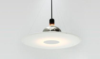 Lampadario Frisbi di Achille Castiglioni per Flos anni '70, pendant lamp, 70s, mid-century modern, italian design, post modern, vintage