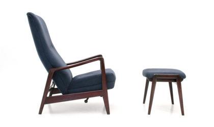 Poltrona reclinabile con pouf di AdolfRellingand RolfRastad per Cassina anni '60, armchair, pouf, 60s, mid-century modern, gio ponti