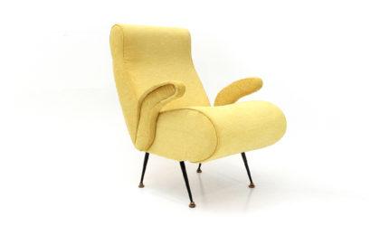 Poltrona in tessuto giallo anni '50, armchair, 50s, mid-century modern, minotti, gigi radice
