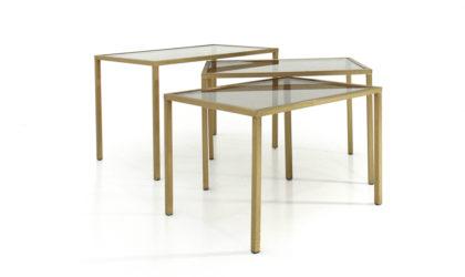 Tre tavolini a nido in ottone e vetro anni '70, nesting coffee table, 70s, mid-century modern, willy rizzo, gabriella crespi, aldo tura, tommaso barbi