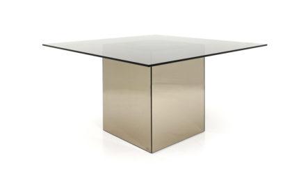 """Tavolo quadrato specchiato """"Block"""" di Nanda Vigo per Acerbis anni '70, dining table, 70s, mid-century modern, mirror"""