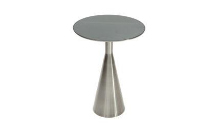 Tavolino circolare in cromo spazzolato e piano specchiato, coffee table, mid-century modern, gio ponti, brass, glass, luxury, 50s, anni 50