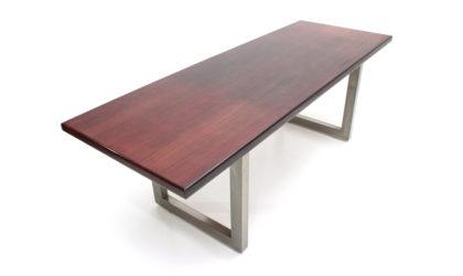 Tavolo con gambe in acciaio di Claudio Salocchi per Sormani anni '60, desk table, mid-century modern, 60s, italian design, castelli,