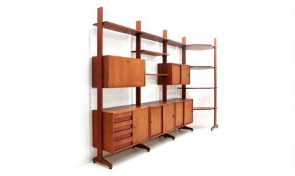 Libreria a tre campate e modulo angolare anni '60, bookcase, 60s, mid-century modern, albini, freestanding, wall unit, frattini