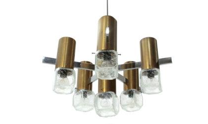Lampadario in ottone e metallo cromato anni '70, pendant lamp, mid-century modern, 70s, glass, brass, sciolari, stilkronen