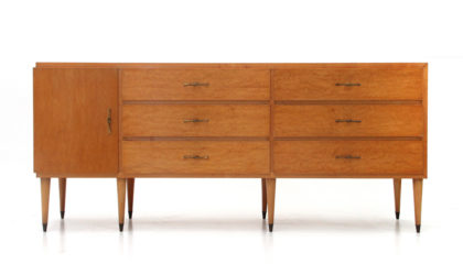 Cassettiera con maniglie in ottone anni '50, chest of drawers, italian design, mid-century modern, gio ponti, paolo buffa.