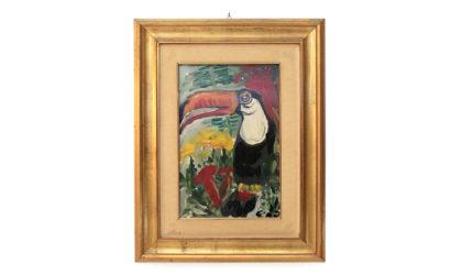 Quadro eseguito con colori ad olio su tela raffigurante un tucano e dei fiori.