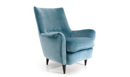 Poltrona in velluto azzurro anni '50, velvet armchair, italian design, mid-century modern, 50s, carlo de carli, gio ponti, paolo buffa