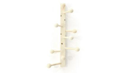 Attaccapanni a muro in legno laccato bianco anni '60, wall coat rack, mid-century modern, 60s, italian design,
