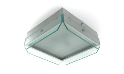 Plafoniera in vetro e metallo Veca anni '70, ceiling lamp, mid-century modern, 70s, italian design, glass, fontana arte, max ingrand