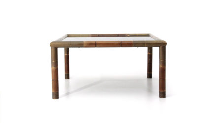 Tavolino con angoli in ottone anni '70, coffee table, mid-century modern, 70s, italian design, gabriella crespi, willy rizzo, post modern