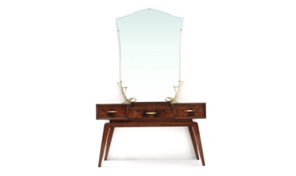 Toeletta con maniglie in ottone anni '50, vanity desk, italian design, mid-century modern, 50s, brass mirror, paolo buffa