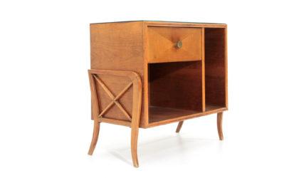 Piccolo mobile con piano in vetro nero anni '50, sideboard, mid-century modern, 50s, italian design, vintage, paolo buffa, guglielmo ulrich