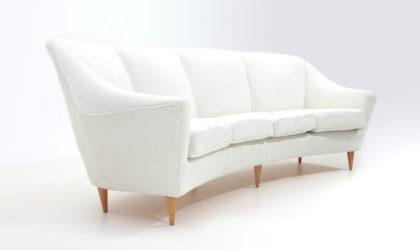 Divano 4 posti in velluto bianco anni 50, 4-seater sofa, italian design, mid-century modern, 50s, ico parisi, wooden, white velvet