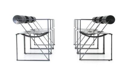 sei sedie 'Seconda' di Mario Botta per Alias anni 80, dining chairs, italian design, mid-century modern, 80s, post modern, black, minimal