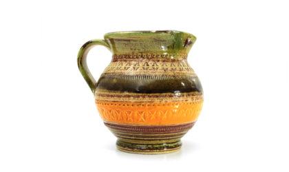 Brocca in ceramica smaltata colorata 'Sahara' di Aldo Londi per Bitossi anni 60, pitcher, enameled ceramic, italian design, mid-century modern, 60s