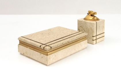Set da fumo in travertino ed ottone di G. Ulivieri per Cerri Nestore anni 60, smoking set, italian design, mid-century modern, 60s, travertine, brass
