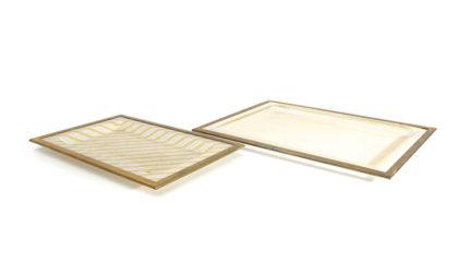 Due vassoi in plastica ed ottone di Alberto Sordi anni 70, trays, italian design, mid-century modern, 70s, vintage, gabriella crespi, willy rizzo