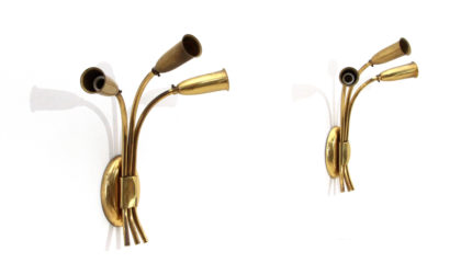 Coppia di applique in ottone a tre luci anni 50, wall lamps, italian design, mid-century modern, 50s, brass, fontana arte, pietro chiesa, arteluce, torlasco