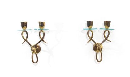Coppia di applique in ottone e vetro anni 50, wall lamps, italian design, mid-century modern, 50s, brass, fontana arte, pietro chiesa, arteluce
