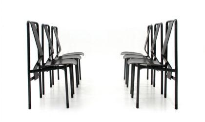 Sei sedie 'Irma' di Achille Castiglioni per Zanotta anni 70, dining chair, italian design, mid-century modern, 70s, post modern, 80s, black