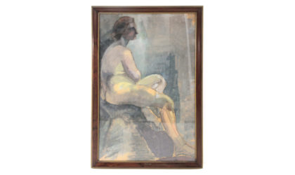 Quadro 'Donna seduta' della pittrice Noemi Frascio anni 60, paint, italian design, mid-century modern, 60s, stile '900, verismo, art decò, ritratto