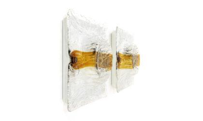 Coppia di applique con vetro a corteccia di Toni Zuccheri per Venini anni 70, sconces, italian design, mid-century modern, 70s, gio ponti, murano glass