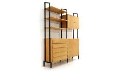 Libreria impiallacciata in acero occhiolinato anni 50, wall unit, italian design, mid-century modern, 50s, vintage, bookcase