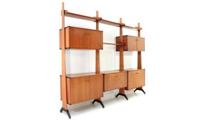 Libreria con montanti in legno AV Arredamenti Moderni anni 60, wall unit, italian design, mid-century modern, 60s, vintage, bookcase, frattini, albini, parisi