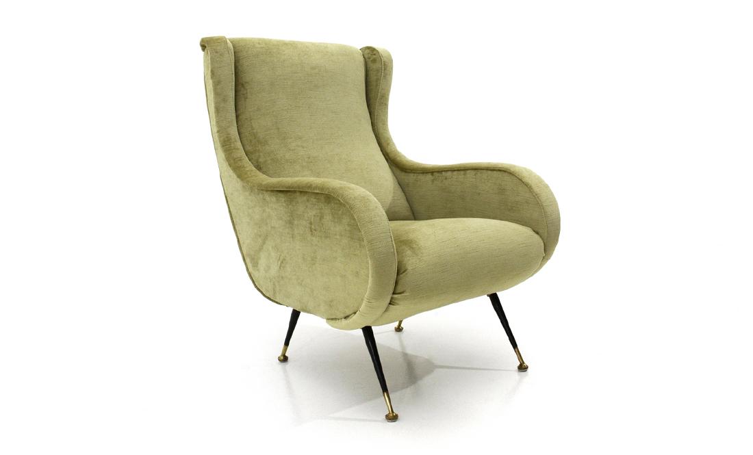 Poltrone Design Anni 60.Poltrona In Velluto Verde Acido Anni 60 Armchair Italian Design