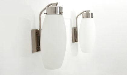 Coppia di applique Stilnovo anni 60, applique, italian design, mid-century modern, 60s, vetro opalino, opaline glass, azucena, caccia dominioni