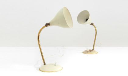 Coppia di lampade da comodino in ottone anni 40, table lamp, italian design, mid-century modern, 40s, brass, 50s