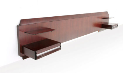 Testiera letto in legno con comodini e mensole anni 60, headbord, italian design, mid-century modern, 60s, gio ponti, nightstand