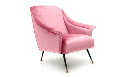 Poltrona in velluto rosa con piedi a spillo anni 50, pink velvet armchair, italian design, mid-century modern, 50s, gigi radice, zanuso, minotti