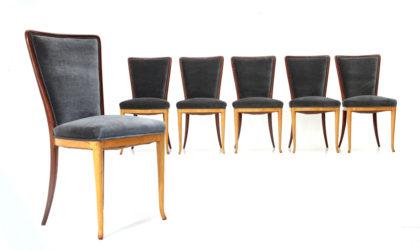 Sei sedie in legno e velluto anni 40, dining chairs, italian design, mid-century modern, 40s, paolo buffa, guglielmo ulrich, velvet