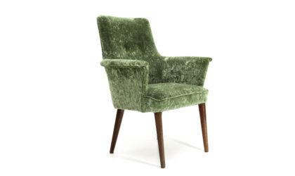 Poltroncina in velluto verde anni 50, green velvet armchair, italian design, mid-century modern, 50s,cassina, borsani, gio ponti